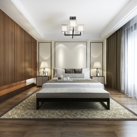 3d rendering luxury chinese modern bedroom suite in hotel with wardrobe