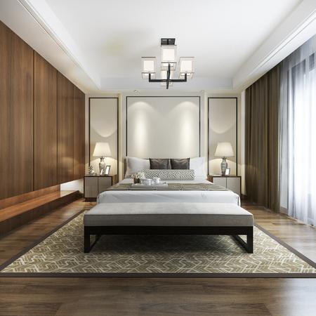 Representación 3d suite de dormitorio moderno chino de lujo en hotel con armario