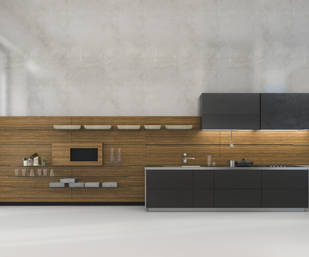 3D rendering bianco minimal mock up cucina loft con decorazioni in legno Archivio Fotografico