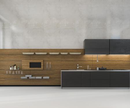Representación 3d en blanco mínimo maqueta cocina tipo loft con decoración de madera Foto de archivo