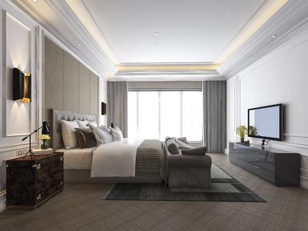 Representación 3D hermosa suite de dormitorio de lujo en hotel con tv