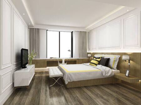 Suite camera da letto minimale vintage rendering 3d in hotel con tv