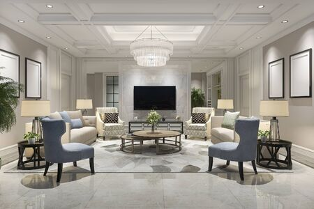 3d rendering luxury and modern living room with bookshelf