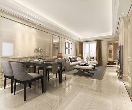 Modernes Esszimmer und Wohnzimmer des 3D-Renderings mit Luxusdekor Standard-Bild