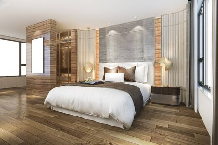 3d rendering beautiful luxury bedroom suite in hotel with mirror wardrobe