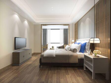 3d rendering luxury blue modern bedroom suite in hotel