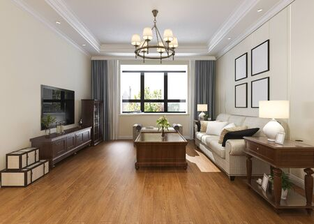 3d rendering modern classic living room with chandelier