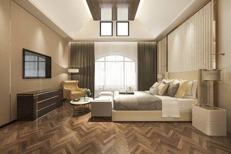 3d rendering beautiful luxury bedroom suite in hotel with tv 写真素材