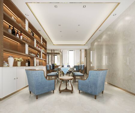 3d rendering loft luxury living room and working room with decor shelf