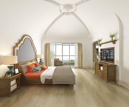 3d rendering curve dome vintage bedroom suite in resort hotel and resort