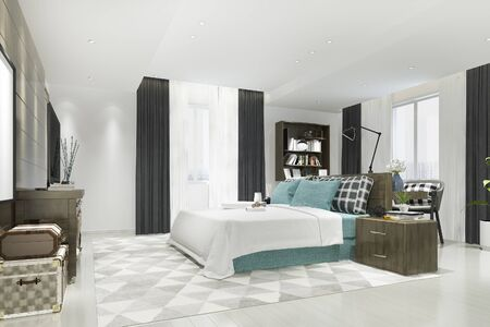 3d rendering beautiful luxury blue bedroom suite in hotel with tv and working table 写真素材