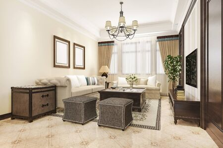 3d rendering luxury and classic living room with american vintage style 写真素材