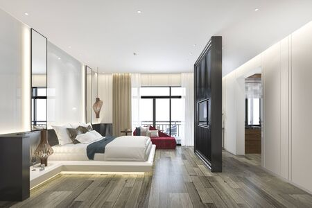 3d rendering beautiful luxury bedroom suite in hotel with tv and red sofa 写真素材