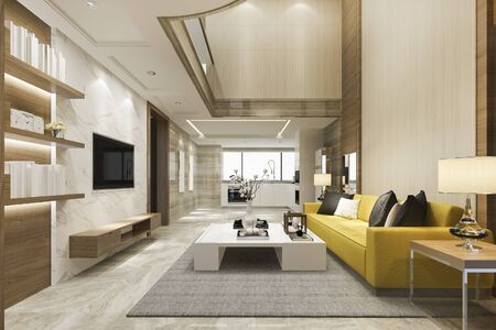 3d rendering modern dining room and yellow living room with luxury decor high ceiling