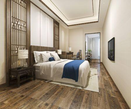3d rendering luxury chinese blue bedroom suite in resort hotel near working room