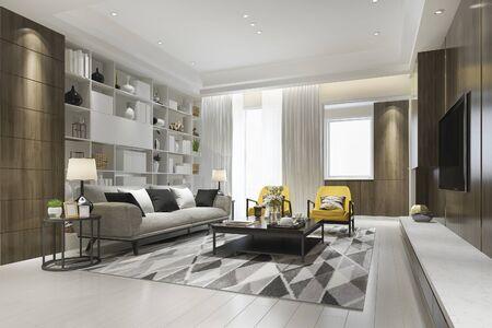 3d rendering loft luxury living room with yellow armchair with bookshelf 写真素材