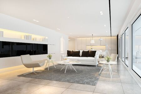 3d rendering white modern living room near kitchen and outdoor terrace 写真素材