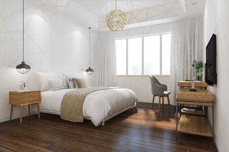 3d rendering orange vintage minimal bedroom suite in hotel with tv