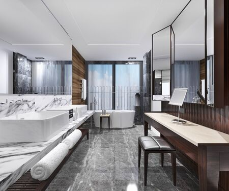 3d rendering modern loft bathroom with luxury tile decor with make up table 写真素材