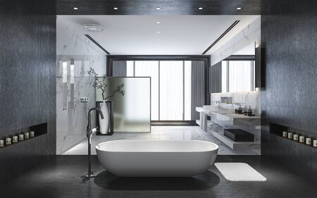 3d rendering modern black stone bathroom with luxury tile decor with nice nature view from window