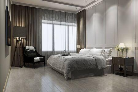 3d rendering beautiful luxury vintage bedroom suite in hotel with tv 写真素材