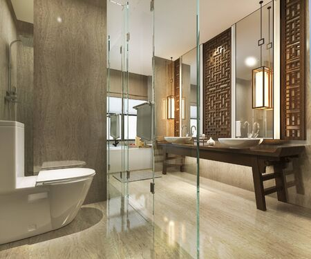 3d rendering modern bathroom with luxury tile and chinese wall decor 写真素材