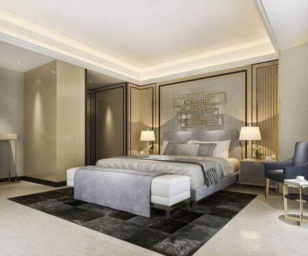 3d rendering beautiful classic luxury bedroom suite in hotel with tv