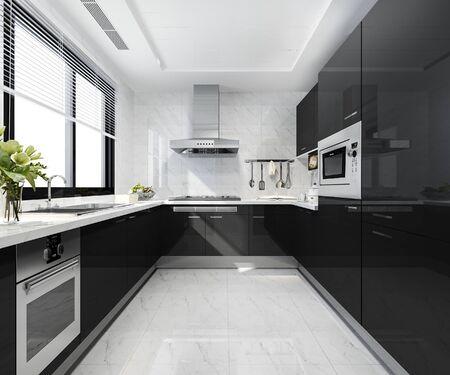 3d rendering scandinavian vintage modern kitchen with dining area