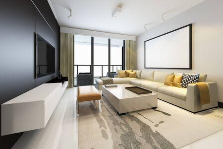 Representación 3D de lujo y sala de estar moderna con sofá de tela con marco simulado