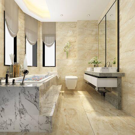 Renderowanie 3d klasyczna nowoczesna łazienka z luksusowym wystrojem płytek Zdjęcie Seryjne