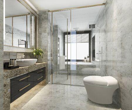 Baño moderno clásico de renderizado 3D con decoración de azulejos de lujo Foto de archivo