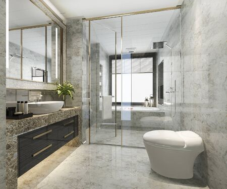 Klassisches modernes Badezimmer der Wiedergabe 3d mit luxuriösem Fliesendekor Standard-Bild