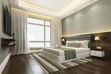 Representación 3d hermosa suite de dormitorio de lujo verde en hotel con tv