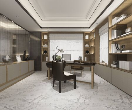3d rendering luxury business meeting and working room in home office