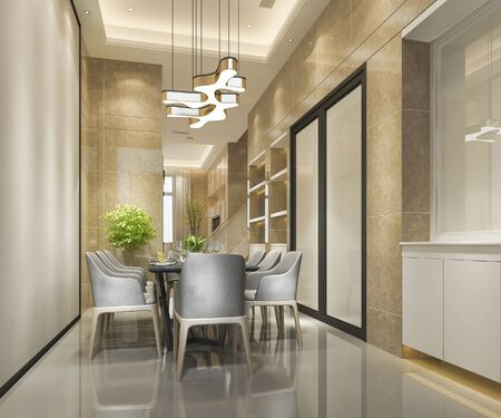 3d rendering modern and luxury dining room with chandelier