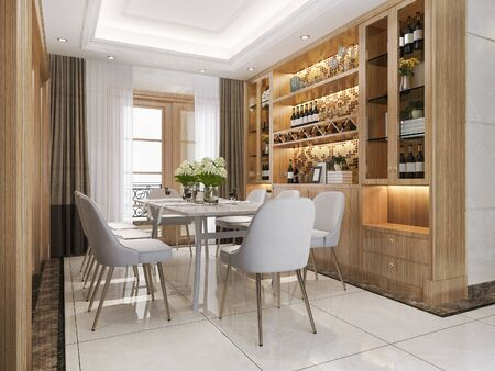 3D-Rendering modernes Esszimmer und Wohnzimmer mit Luxusdekor Weinregal