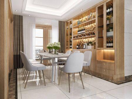 Representación 3d comedor moderno y sala de estar con estante de vino de decoración de lujo