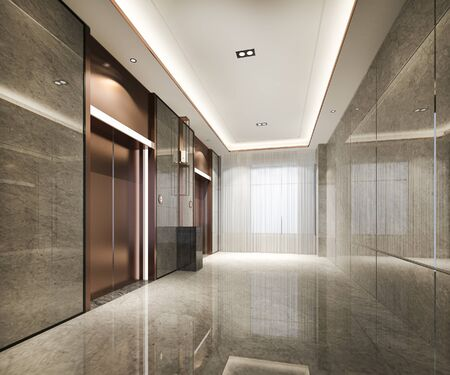 3d rendering modern steel elevator lift lobby in business hotel with luxury design near corridor