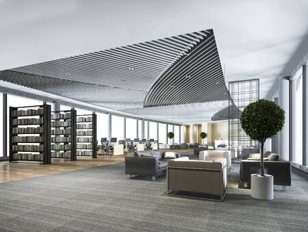 3d rendering elegant lounge lobby area and library with working desk and sofa set