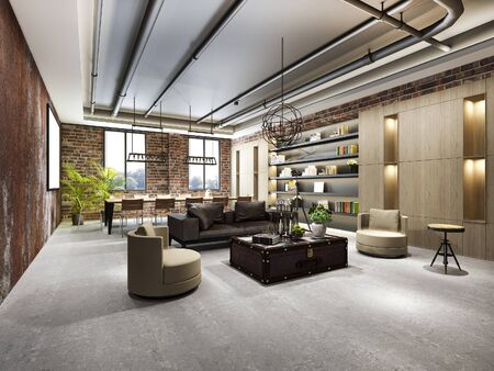 3d rendering luxury business meeting and industrial style working room in executive office with bookshelf