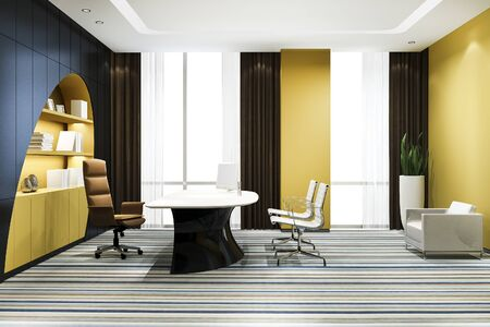 3d rendering luxury business meeting and yellow curve working room in executive office with bookshelf