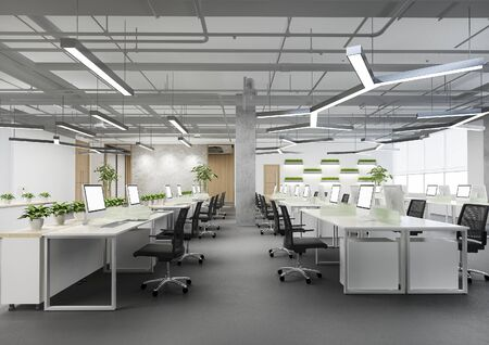 3d rendering business meeting and working room on office building with plant decor Foto de archivo