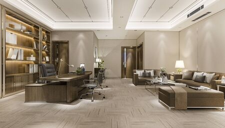 3d rendering luxury business meeting and working room in executive office 스톡 콘텐츠
