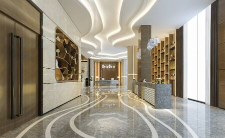 3d rendering luxury hotel reception hall and office with decor shelf
