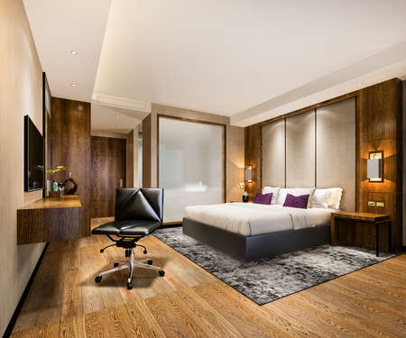 3d rendering luxury bedroom suite in resort high rise hotel with working table