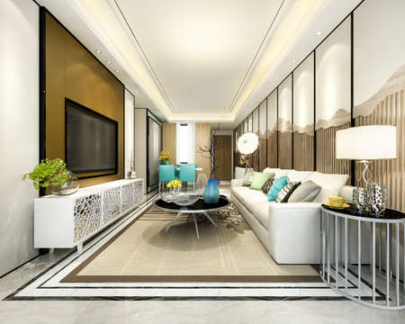 3d rendering modern dining room and kitchen with living room with luxury decor 스톡 콘텐츠