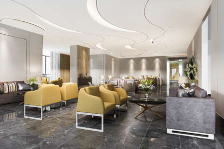3d rendering luxury hotel reception hall and office with modern minimal counter 스톡 콘텐츠