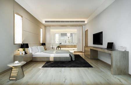 3d rendering modern luxury bedroom suite and bathroom Stock fotó