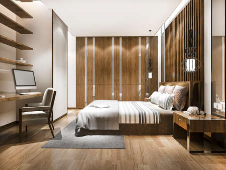 3d rendering beautiful luxury bedroom suite in hotel with working table 스톡 콘텐츠