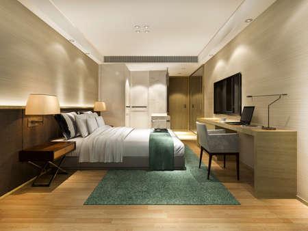 3d rendering beautiful luxury bedroom suite in hotel with working table near bathroom